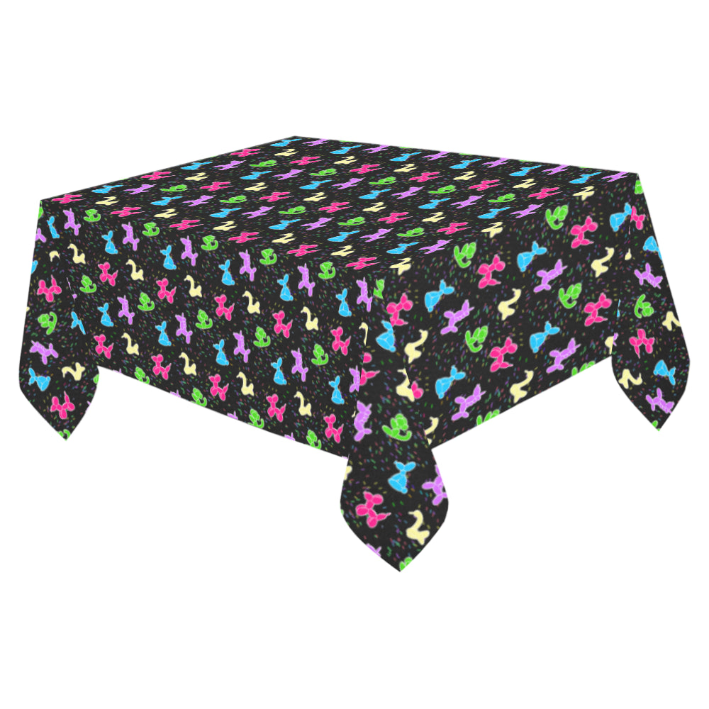 "Classic on Black Cotton Linen Tablecloth 52""x 70"""