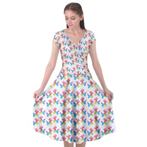 Watercolor Balloon Dogs Cap Sleeve Dress