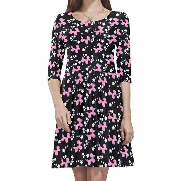 Dogs & Stars Half Sleeve Skater Dress