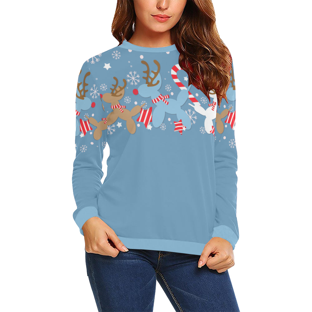 Blue Reindeer Balloon Dogs Sweatshirt