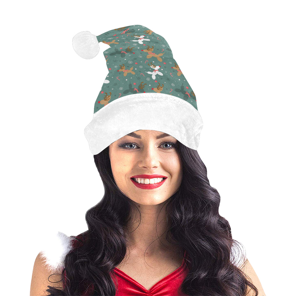 Green Reindeer Balloon Dog Santa Hat