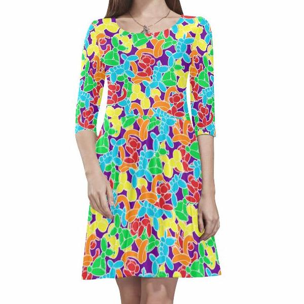 Jam Room Half-sleeve Skater Dress