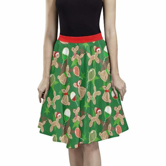 Balloon Animal Cookies Holiday Pleated Midi Skirt