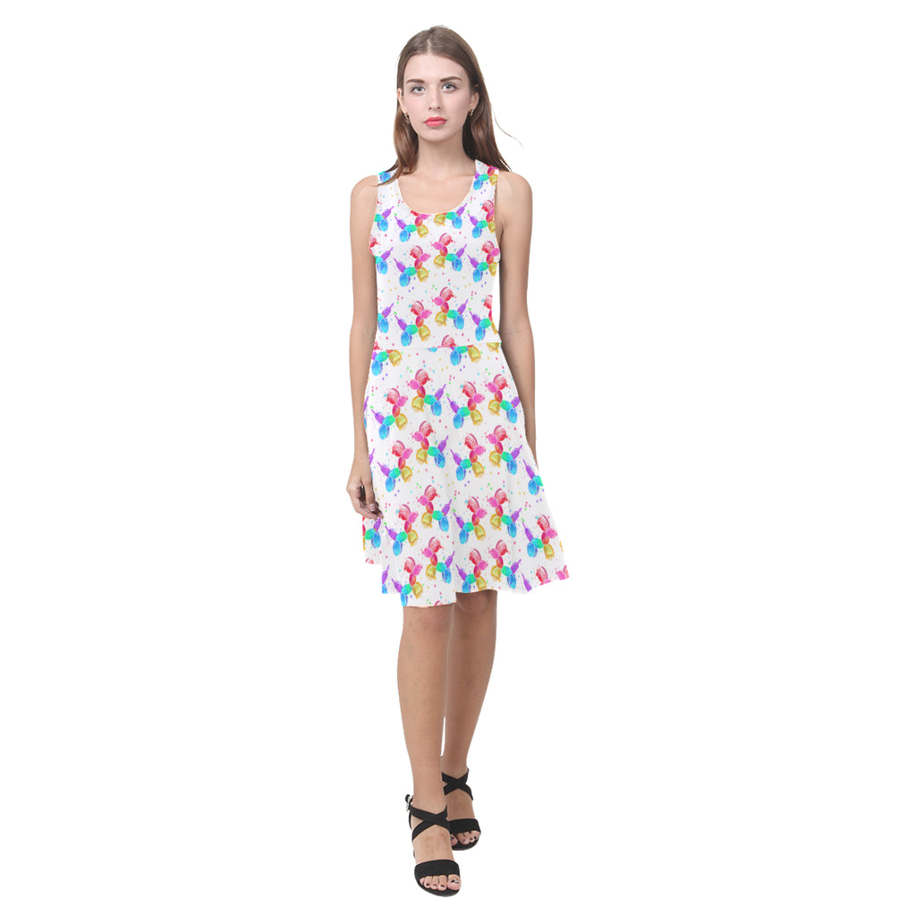 Watercolor Dogs on White Sleeveless Sundress