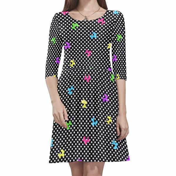 Polka-Dogs Half-Sleeve Skater Dress