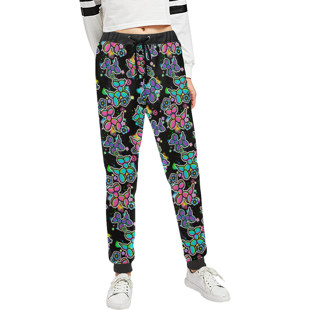 Graffiti Dogs on Black Women's Sweatpants