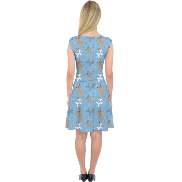 Blue Reindeer Balloon Dogs Midi Dress