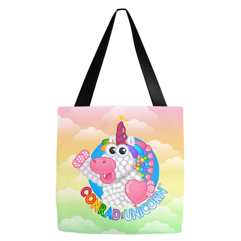 Official Conrad the Unicorn Logo Rainbow Clouds Tote