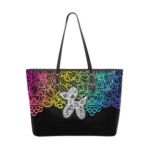 Lace Dogs Balloon Animal Leather Tote Bag