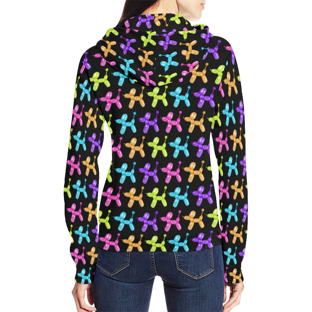 Color Pop Balloon Dog Full Zip Hoodie for Women