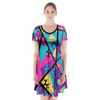Memphis Balloon Dogs Short Sleeve V-Neck Flare Dress