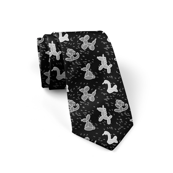 Black/Gray Balloon Animals Necktie