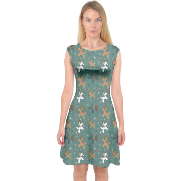 Green Reindeer Balloon Dogs Midi Dress