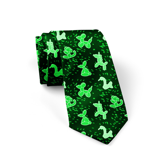 Green Balloon Animals Necktie
