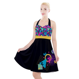 Memphis Balloon Dog Halter Party Swing Dress