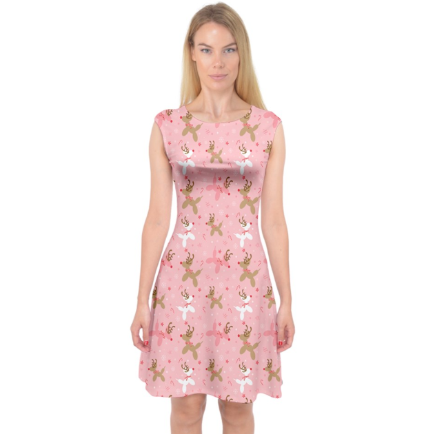 Pink Reindeer Balloon Dogs Midi Dress