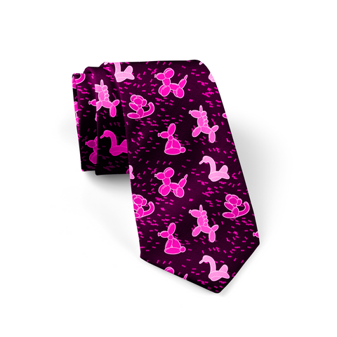 Pink Balloon Animals Necktie