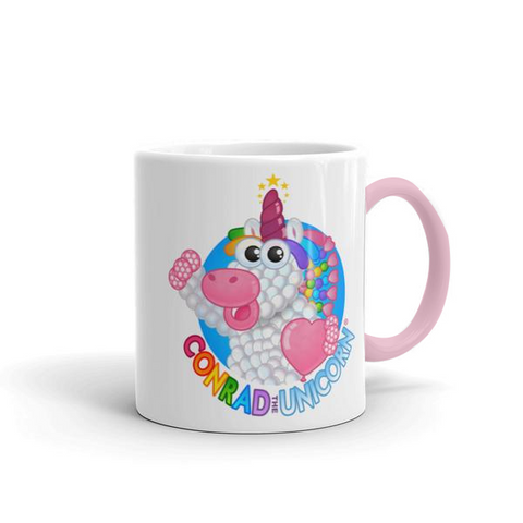 Official Conrad the Unicorn Logo Mug with Pink Accent