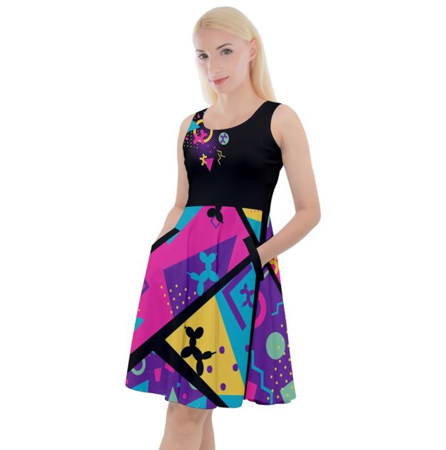 Memphis Balloon Dog Skater Dress with Pockets!