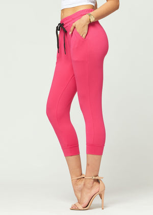 Load image into Gallery viewer, Lily Fuchsia Pink Ultra Soft Capri Jogger Sweatpants