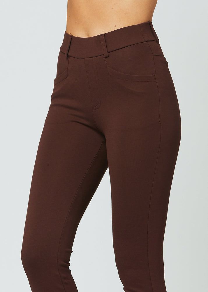 Uplift Ponte Knit Bootcut Dress Pants with Pockets - Chocolate Brown