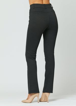 Uplift Ponte Knit Bootcut Dress Pants with Pockets - Charcoal Grey