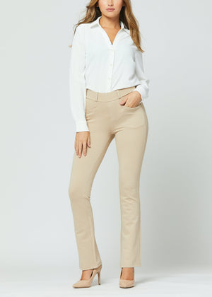 Uplift Ponte Knit Bootcut Dress Pants with Pockets - Beige Nude