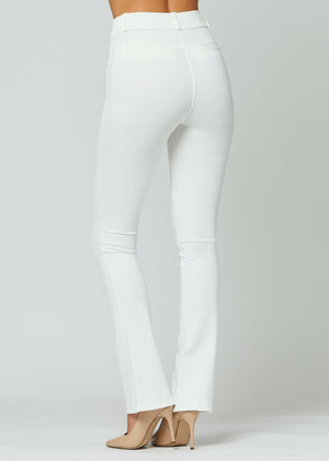 Uplift Ponte Knit Bootcut Dress Pants with Pockets - White
