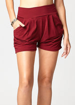 Emma Solid Burgundy Ultra Soft High Waist Harem Shorts with Pockets