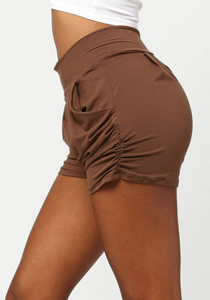 Load image into Gallery viewer, Emma Solid Dark Mocha Ultra Soft High Waist Harem Shorts with Pockets
