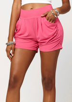 Emma Solid Fuchsia Pink Ultra Soft High Waist Harem Shorts with Pockets