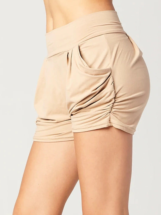 Load image into Gallery viewer, Emma Solid Beige Khaki Ultra Soft High Waist Harem Shorts with Pockets