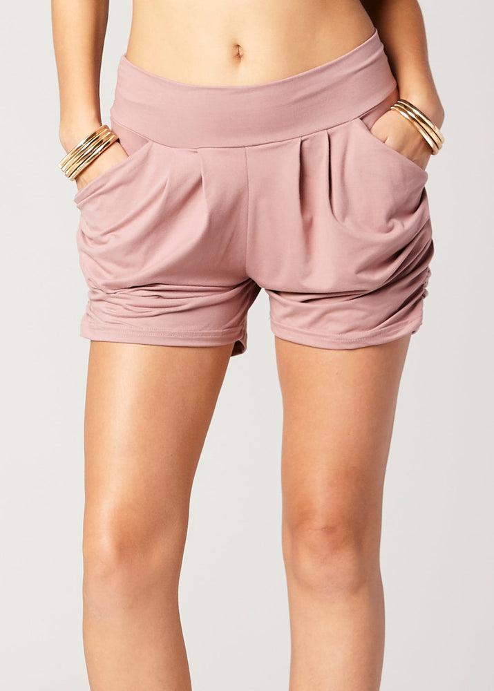 Emma Solid Mauve Pink Ultra Soft High Waist Harem Shorts with Pockets
