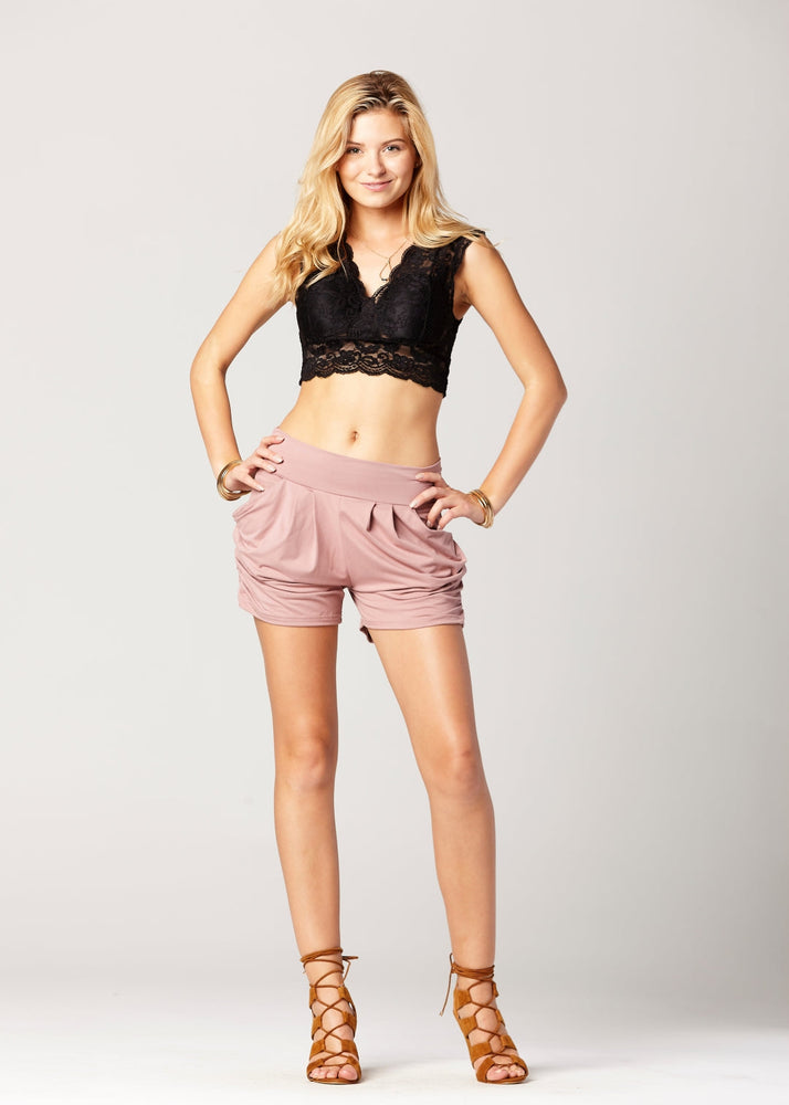 Load image into Gallery viewer, Emma Solid Mauve Pink Ultra Soft High Waist Harem Shorts with Pockets