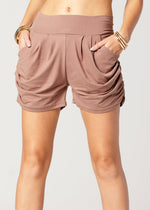Emma Solid Mocha Ultra Soft High Waist Harem Shorts with Pockets