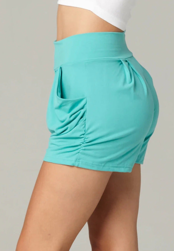 Emma Solid Mint Ultra Soft High Waist Harem Shorts with Pockets