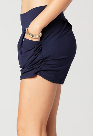 Emma Solid Navy Blue Ultra Soft High Waist Harem Shorts with Pockets
