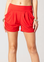 Emma Solid Red Ultra Soft High Waist Harem Shorts with Pockets