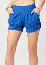 Emma Solid Royal Blue Ultra Soft High Waist Harem Shorts with Pockets