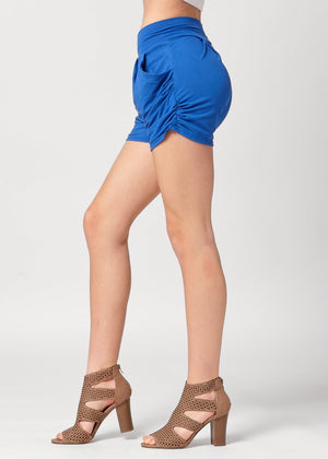 Load image into Gallery viewer, Emma Solid Royal Blue Ultra Soft High Waist Harem Shorts with Pockets