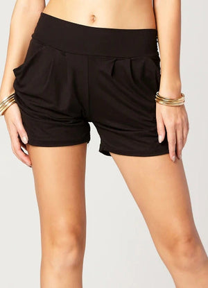 Load image into Gallery viewer, Emma Soild Black Ultra Soft High Waist Harem Shorts with Pockets