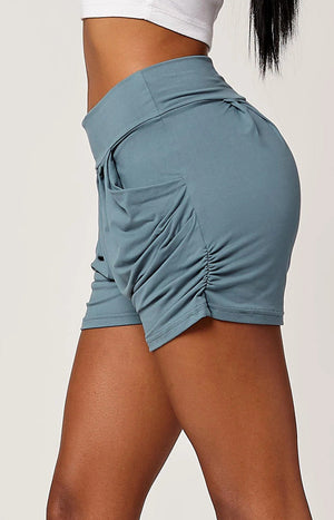 Emma Solid Sea Blue Ultra Soft High Waist Harem Shorts with Pockets