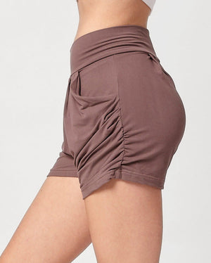 Emma Solid Vintage Violet Ultra Soft High Waist Harem Shorts with Pockets
