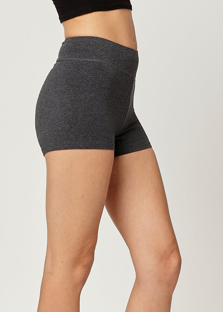 Lola Luxury Stretch Cotton High Waist Slip Shorts - Charcoal Grey