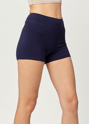 Load image into Gallery viewer, Lola Luxury Stretch Cotton High Waist Slip Shorts - Navy Blue