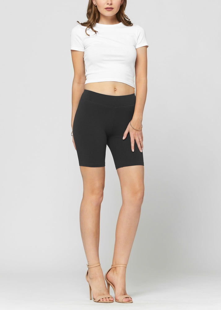 Lola Luxury Stretch Cotton Black High Waist Bike Shorts