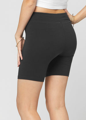 Load image into Gallery viewer, Lola Luxury Stretch Cotton Black High Waist Bike Shorts