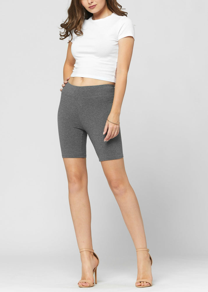 Lola Luxury Stretch Cotton Charcoal Grey High Waist Bike Shorts