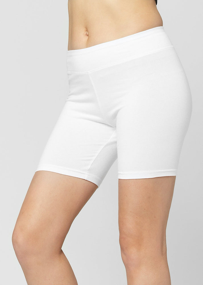 Lola Luxury Stretch Cotton Extra White High Waist Bike Shorts