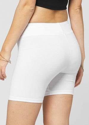 Load image into Gallery viewer, Lola Luxury Stretch Cotton Extra White High Waist Bike Shorts